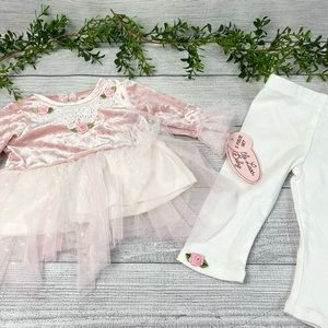 NEW Little Lass Pink and Lace Two Piece Baby Set